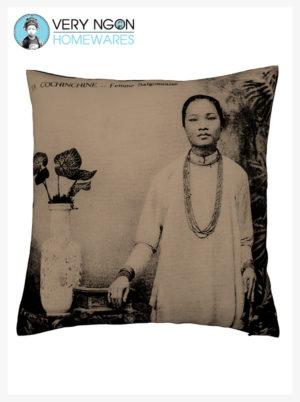 Cushion cover beige Femme Saigonnaise large - incense