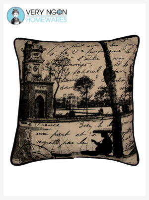 Cushion cover beige Petit Lac, Hanoi, piping - incense
