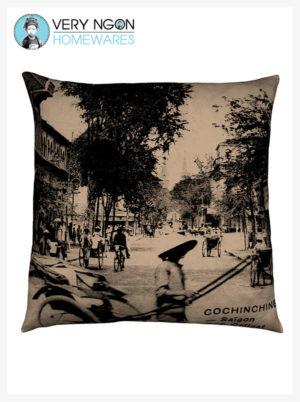 Cushion cover beige Rue Catinat, Saigon, large - incense