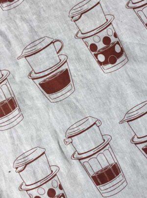 Tea towel - Coffee O'clock, VN style, brown detail