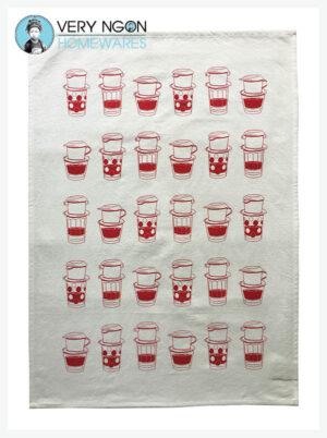 Tea towel - Coffee O'clock VN style - red