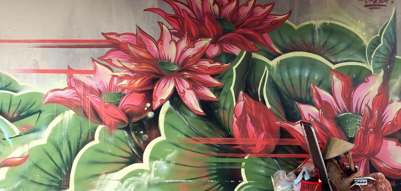 Lotus street art HCMC